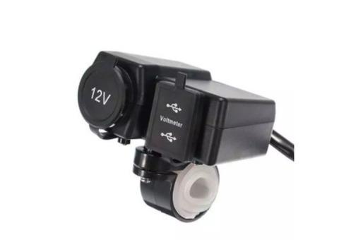 Розетка прикуриватель с 2 USB портами и вольтметром на руль